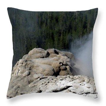 A Smoking Man. Yellowstone Hot Springs Throw Pillow