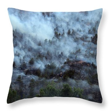 A Smoky Slope On White Draw Fire Throw Pillow