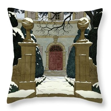 A Snow Covered Pathway Leading To A Mansion Throw Pillow