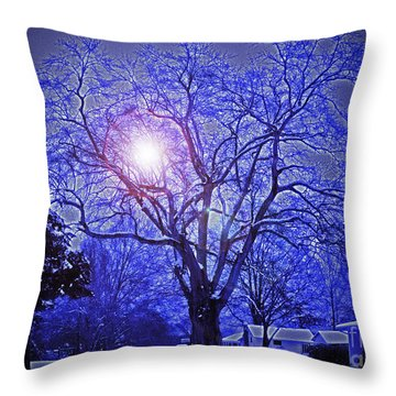A Snow Glow Evening Throw Pillow