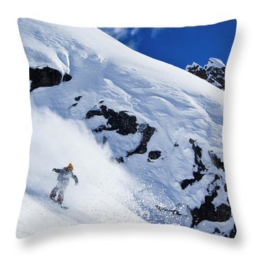 A Snowboarder Slashes Powder Snow Throw Pillow