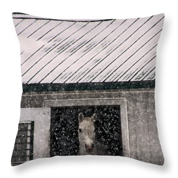 A Snowfall At The Stable Throw Pillow