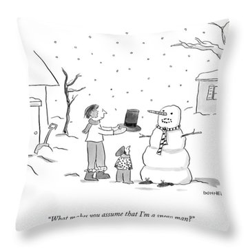 A Snowman Confronts A Mother Throw Pillow