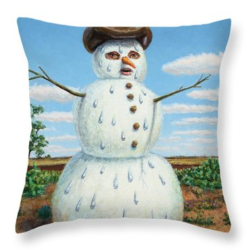 A Snowman In Texas Throw Pillow