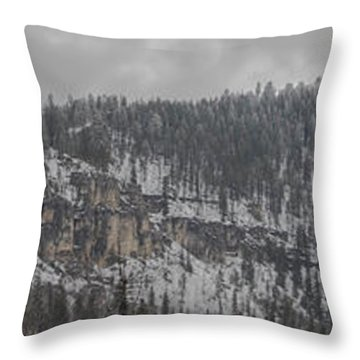 A Snowy Day In Spearfish Canyon Of South Dakota Throw Pillow