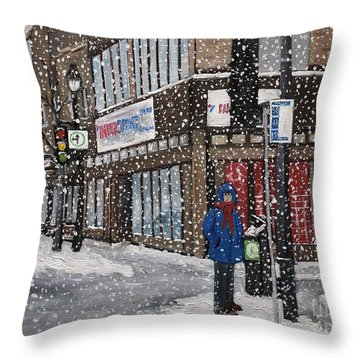A Snowy Day On Wellington Throw Pillow