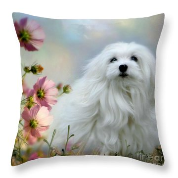 A Soft Summer Breeze Throw Pillow by Morag Bates