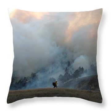 A Solitary Firefighter On The White Draw Fire Throw Pillow