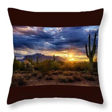 A Sonoran Desert Sunrise Throw Pillow by Saija  Lehtonen