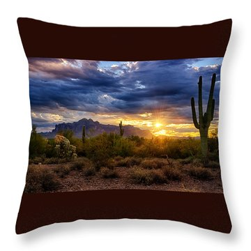 A Sonoran Desert Sunrise Throw Pillow