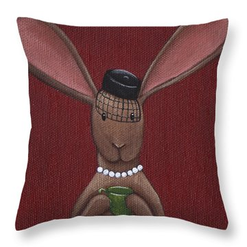 A Sophisticated Bunny Throw Pillow by Christy Beckwith