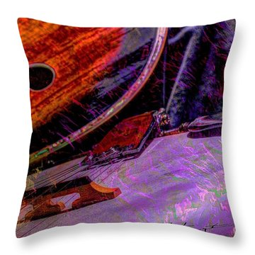 A Southern Combination Digital Banjo And Guitar Art By Steven Langston Throw Pillow by Steven Lebron Langston