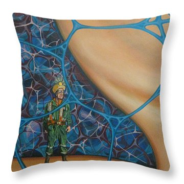 A Spelunkers Search For Life Throw Pillow