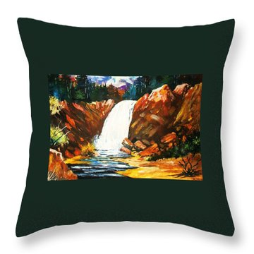 Throw Pillow featuring the painting A Spout In The Forest by Al Brown