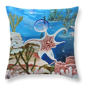 A Squid Named Sid Throw Pillow