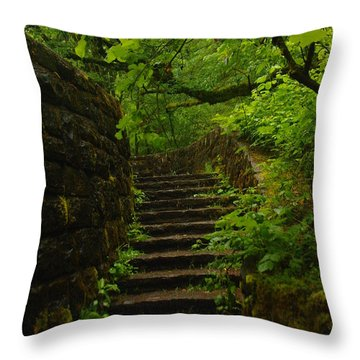 A Stairway To The Green Throw Pillow