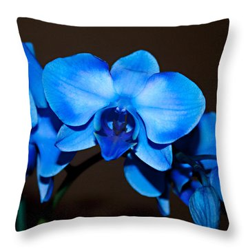 Throw Pillow featuring the photograph A Stem Of Beautiful Blue Orchids by Sherry Hallemeier