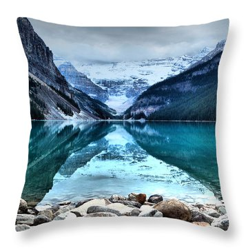 A Still Day At Lake Louise Throw Pillow