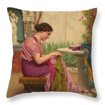 A Stitch Is Free Or A Stitch In Time 1917 Throw Pillow by John William Godward