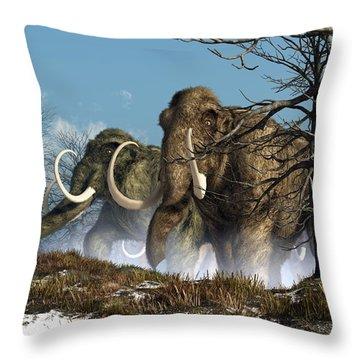 A Storm Of Mammoths  Throw Pillow by Daniel Eskridge