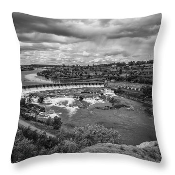 A Stormy Afternoon In Great Falls Montana Throw Pillow by Thomas Young