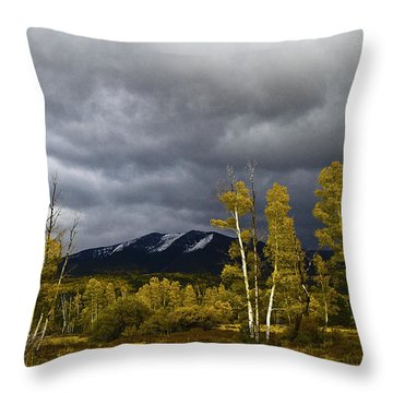 Throw Pillow featuring the photograph A Stormy Day At The Peaks by Tom Kelly
