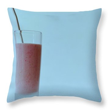 A Strawberry Flavored Drink Throw Pillow