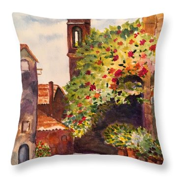 A Street In Tuscany Throw Pillow