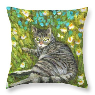A Striped Cat On Floral Carpet Throw Pillow