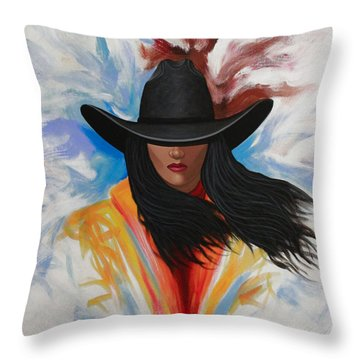 A Stroke Of Cowgirl Throw Pillow by Lance Headlee