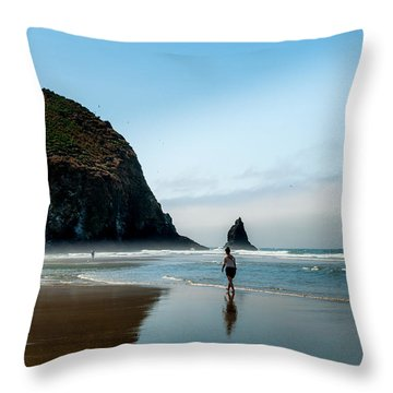A Stroll At Cannon Beach Oregon Throw Pillow