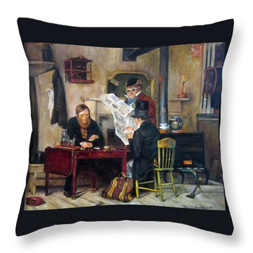 A Study Of Waiting For The Stage Throw Pillow by Donna Tucker