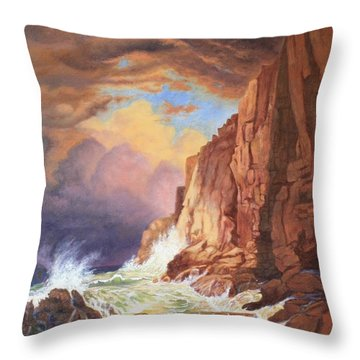 Throw Pillow featuring the painting A Study Of William Trost Richard's Painting by Roena King
