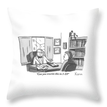 A Suited Man Behind A Desk Addresses A Writer Throw Pillow