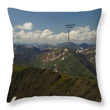 A Summit View Panorama Text Throw Pillow