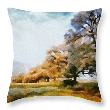 A Sunday Group Of Trees Throw Pillow