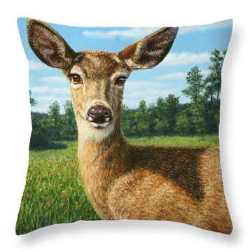 A Sunny Doe Throw Pillow by James W Johnson