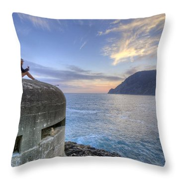 A Sunset Glass Of Wine And A Wwii Pillbox Throw Pillow
