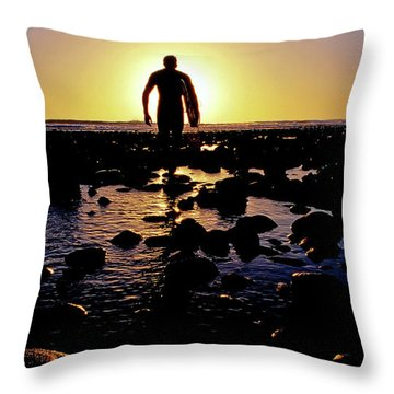 A Surfer Heads Out For A Late Afternoon Throw Pillow