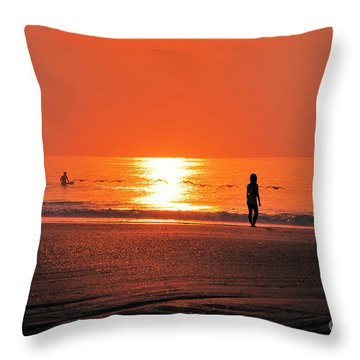 Throw Pillow featuring the photograph A Surfers Sunrise On Wrightsville Beach by Bob Sample