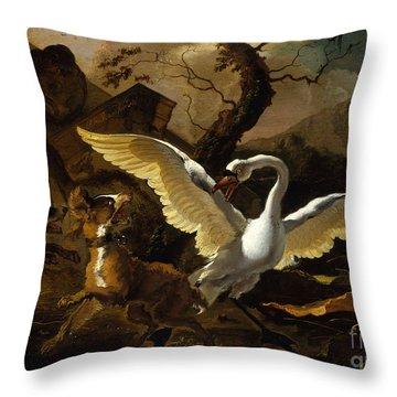 A Swan Enraged By Hondius Throw Pillow