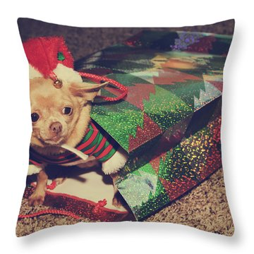 A Sweet Christmas Surprise Throw Pillow by Laurie Search