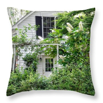 A Swell Side Entrance With Oakleaf Hydrangea Throw Pillow
