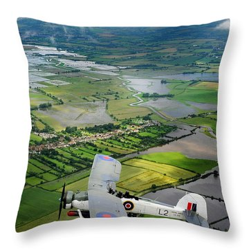 A Swordfish Aircraft With The Royal Navy Historic Flight. Throw Pillow by Paul Fearn
