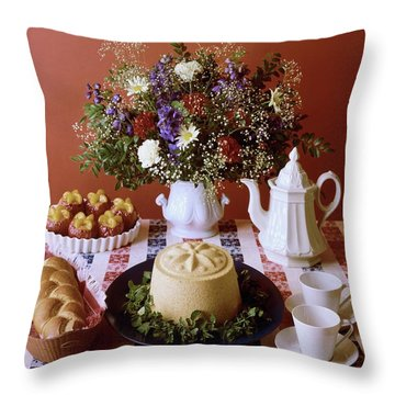 A Table Of Pastries Throw Pillow