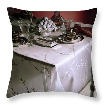 A Table Set With Delicate Tableware Throw Pillow