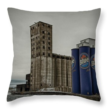 A Tall Blue Six-pack Throw Pillow