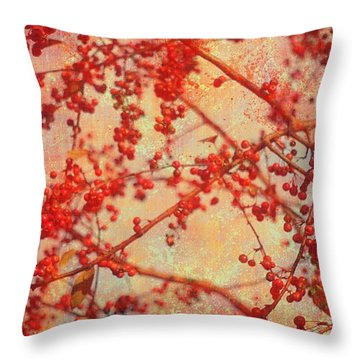 A Tangle Of Fruited Branches Throw Pillow by Suzanne Powers