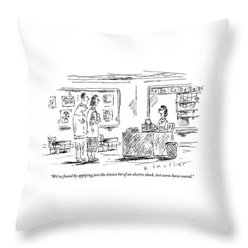 A Teacher Speaks To Two Parents Standing Throw Pillow