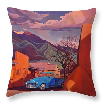 A Teal Truck In Taos Throw Pillow